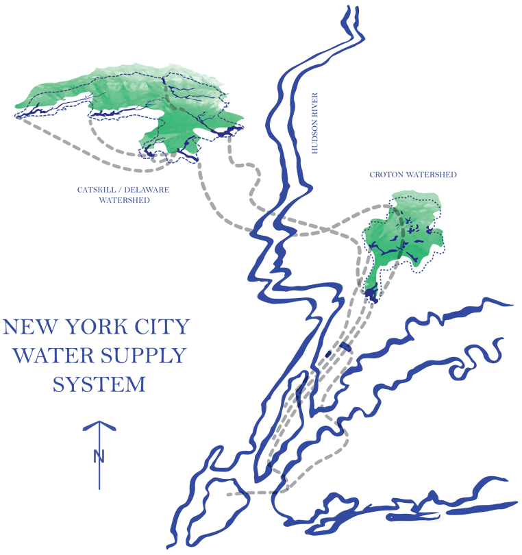 An illustrated line-drawn map of the NYC water supply system including the watersheds, tunnels, and NYC.