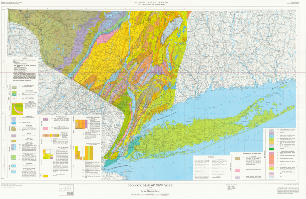A map of the geology of the lower hudson area of New York State