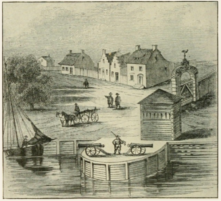 A black and white illustration of colonial houses near the river with a sail boat, horse and cart, and a pair of canons with a man and rifle standing next to them.