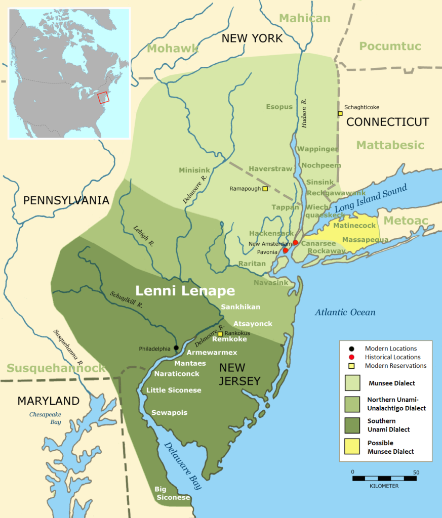 A map of the Lenni Lenape nation in the North East of the USA.