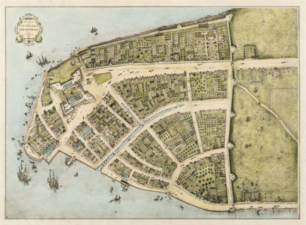 A map of lower manhattan in the 1600s.