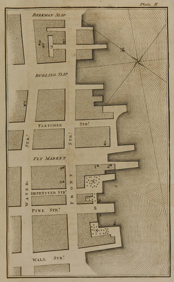 A drawn map of two port areas in NYC showing a grid 10-15 blocks each. There are small hatch marks and other markings showing incidents of yellow fever.