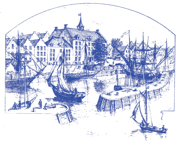 Illustration of a waterfront scene with sailboats in the foreground and City Hall in the background.