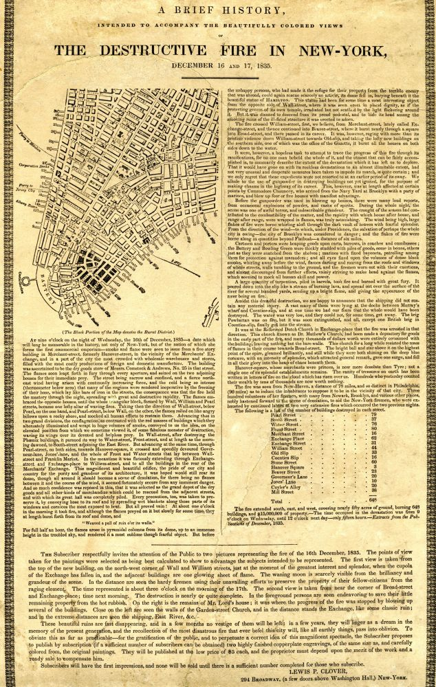 A broadside with a map of lower Manhattan and text (unreadable).