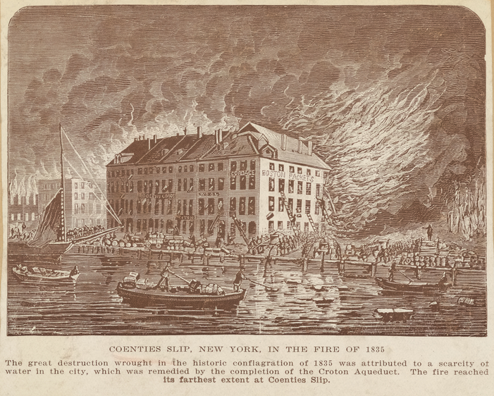 An illustration of a four story building on fire.