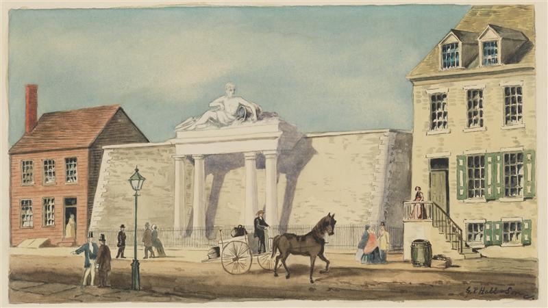 A watercolor illustration of a white 2-story sized building with greek-like columns. The building is flanked by two colonial style residential buildings. The street in front shows a few people and a horse and buggy.