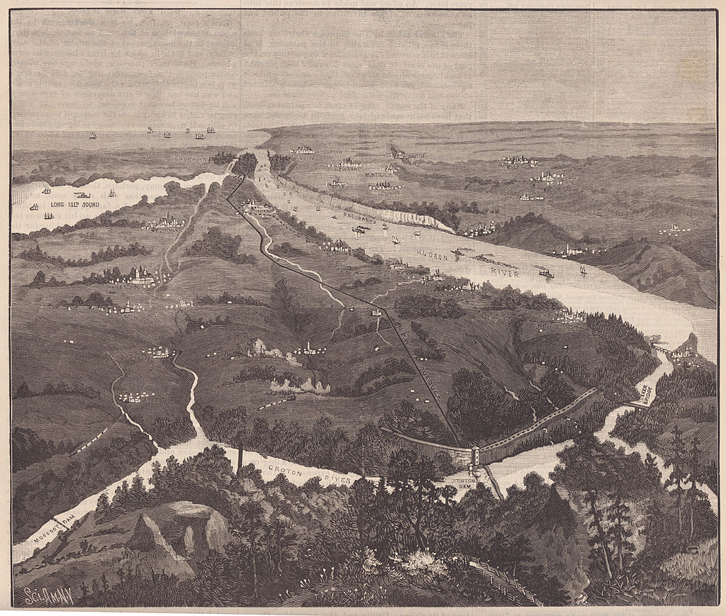 An illustration of a birds-eye view of a landscape with rivers weaving throughout. The view disappears south with the Hudson River and Long Island Sound almost converging.