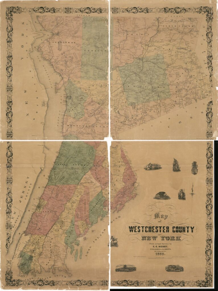 A map of Westchester with counties in different colors. Includes property owners names.