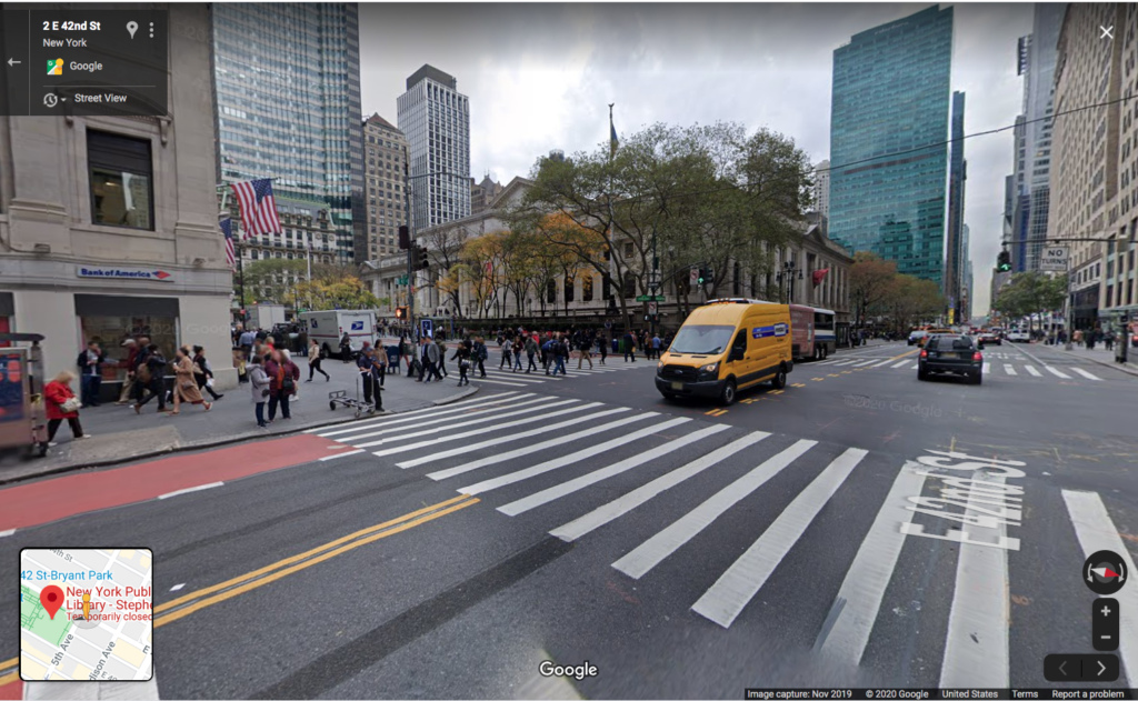 Screenshot of a Google maps Street View of the corner of 42nd Street and 5th Avenue.