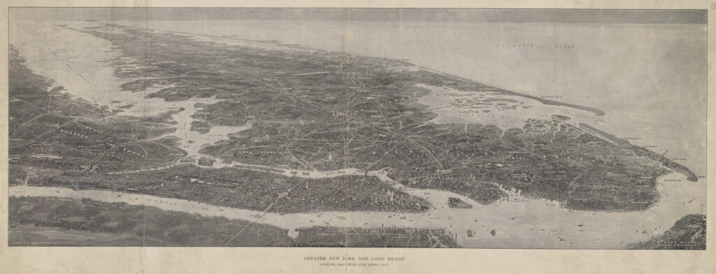 A drawing of a birds eye view of Greater New York including the water ways like Long Island Sound and the Atlantic Ocean