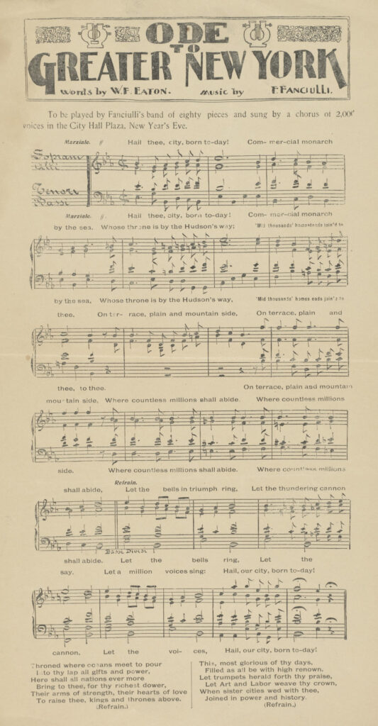 "A black and white music sheet with the words ""Ode to Greater New York"" in fancy script at the top."