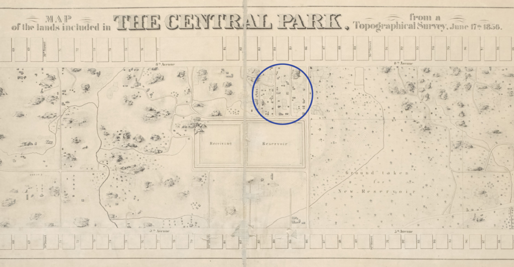 A black and white line drawing map of Central park with the rectangular Receiving Reservoir in the middle of the map. A purple circle is placed on the edge of the reservoir showing properties and streets, this is where Seneca Village once stood.