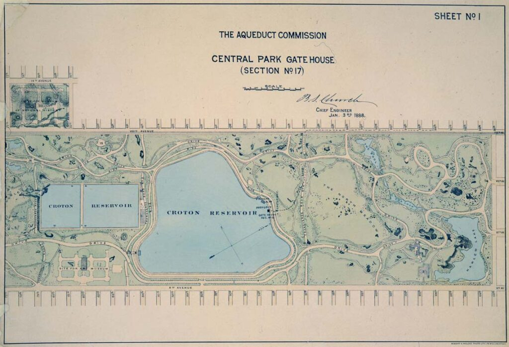 "A map colored green (land) and blue (bodies of water) showing a rectangular reservoir on the left and a lake-shaped reservoir in the middle of Central Park. The lable reads ""The Aqueduct Commission, Central Park Gatehouse"""