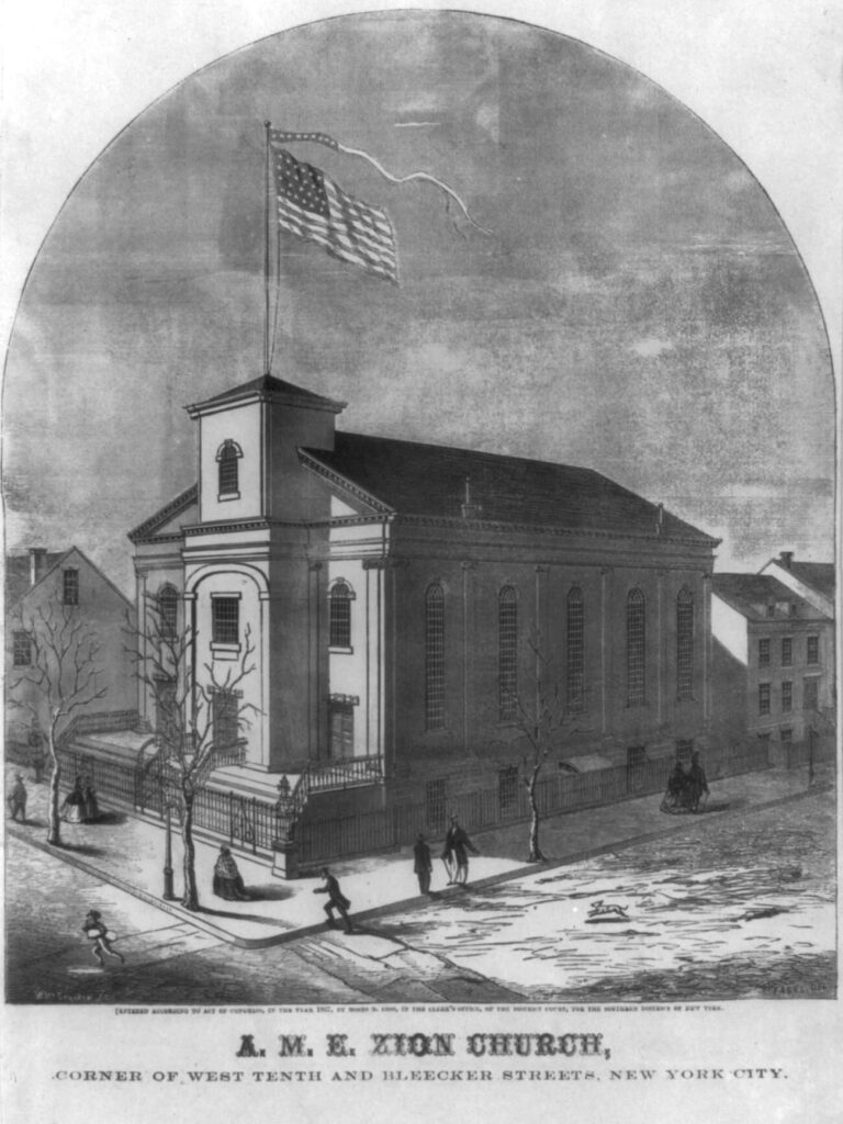 A drawing of a three story church on the corner of a street with an American flag flying from a pole on the top of the building. The street is made of dirt and there are people standing outside.
