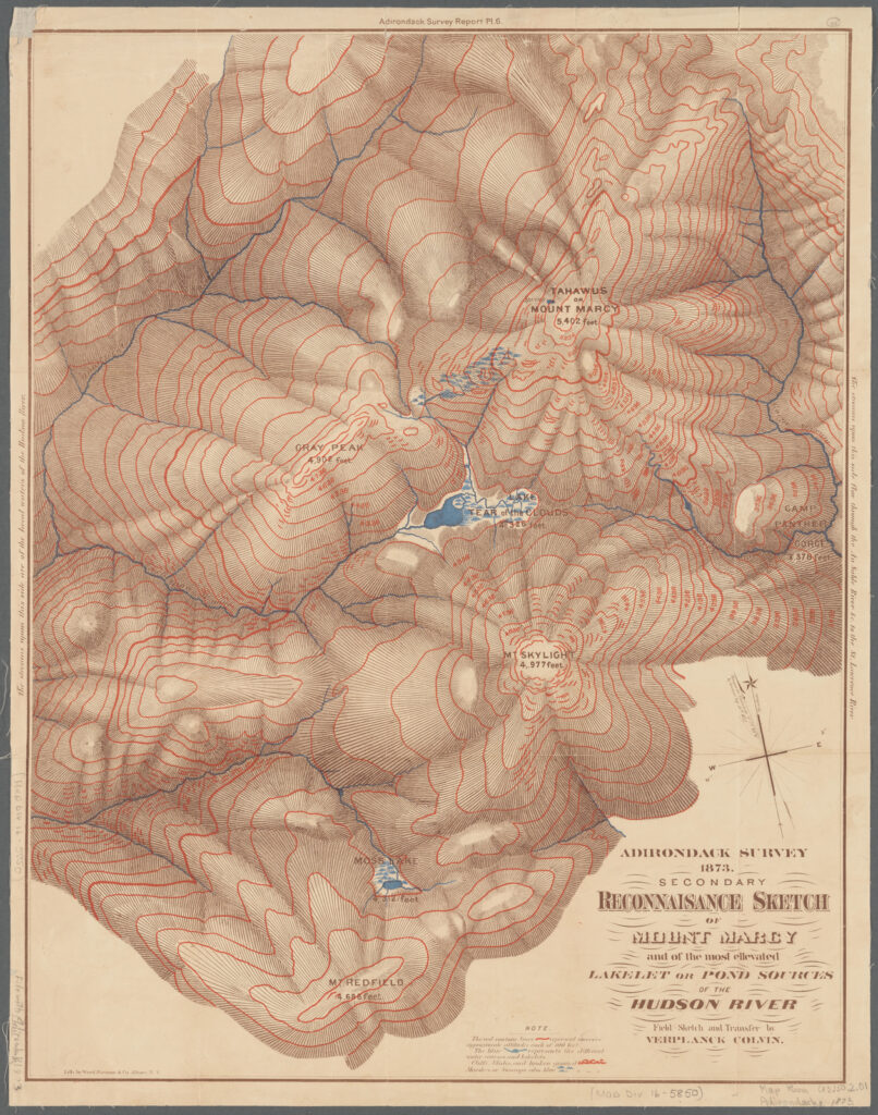 A topographical map featuring faded paper and mountainous landforms colored burgundy. There is a body of water in the middle of the map, Lake Tear of the Clouds nestled in the middle of the mountains like a blue jewel.