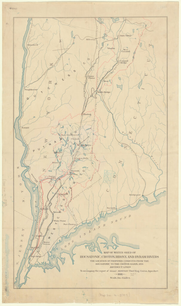 A faded color map that shows the Hudson River on the left and the Long Island Sound at the bottom, reaching over to the East (right of the map). Manhattan Island is at the bottom. The Croton Watershed and Housatonic Watersheds are outlined with a thin pink line.