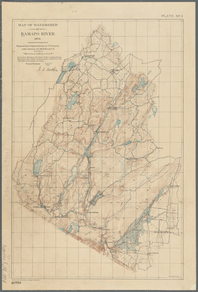 A map on faded yellow paper of the Ramapo River Watershed. The area is isolated from its surroundings. Bodies of water are colored blue. The area is rich in topographic lines which indicate hills, mountains, and valleys.