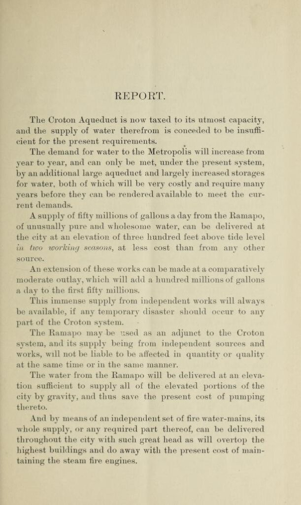 First page of a report of a plan for supplementing the Croton water supply to the City of New York from the Ramapo District by William J. McAlpine.