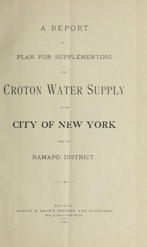 Title page of a report of a plan for supplementing the Croton water supply to the City of New York from the Ramapo District by William J. McAlpine.