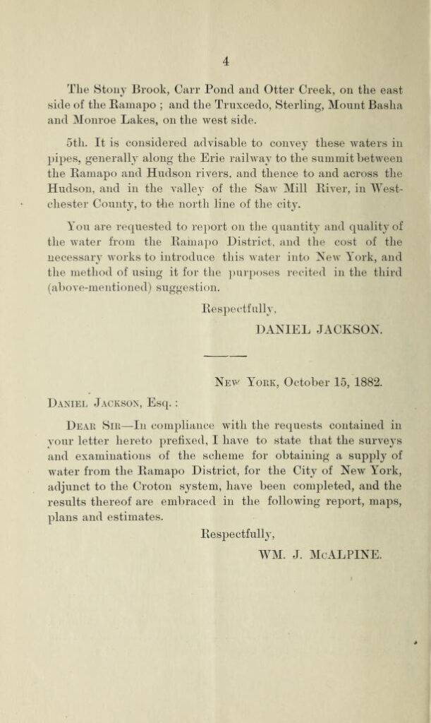 A page from a report of a plan for supplementing the Croton water supply to the City of New York from the Ramapo District by William J. McAlpine. Published in 1882.