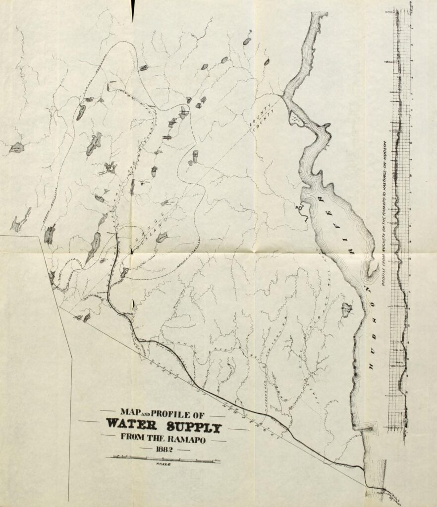 "A map made with black ink on white paper. The text reads ""Map and Profile of Water Supply from the Ramapo, 1882"". There is a land mass and bodies of water and streams on that dominate the map, with the Hudson River on the right, spanning top to bottom. there is a profile of elevation on the right of the map."