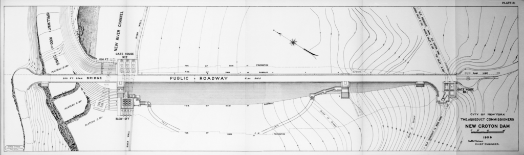A black and white technical drawing of the New Croton Dam. It is an overhead view that focuses on the public roadway over the bridge that runs horizontally across the paper, leading to the gatehouse. The aqueduct lines are indicated on the right running top to bottom.