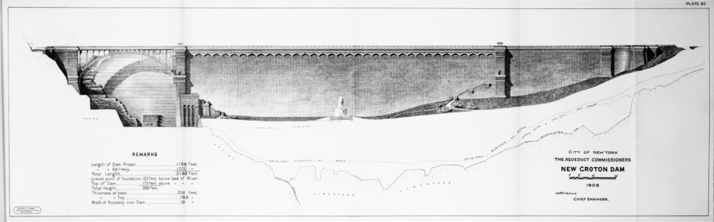 A black and white technical drawing of the New Croton Dam. It shows a side elevation of the dam wall with an arched bridge to the left.