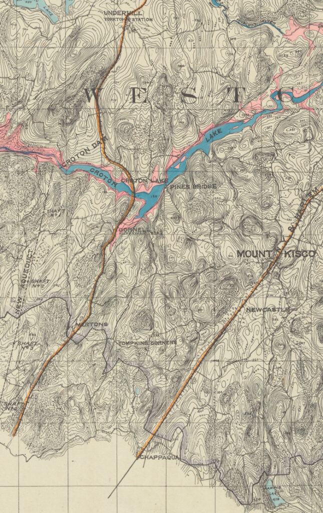 A cropped topographic map of Westchester and the Croton Dam. Towns noted on the map are Mount Kisco, Newcastle, and Pines Bridge. The New Aqueduct is indicated in a dotted line adjoined to the Croton Dam striking southwards. Croton Lake is color coded in blue, and surrounded with a larger pink shaded area, noting the newer Croton Reservoir that will be constructed around it.