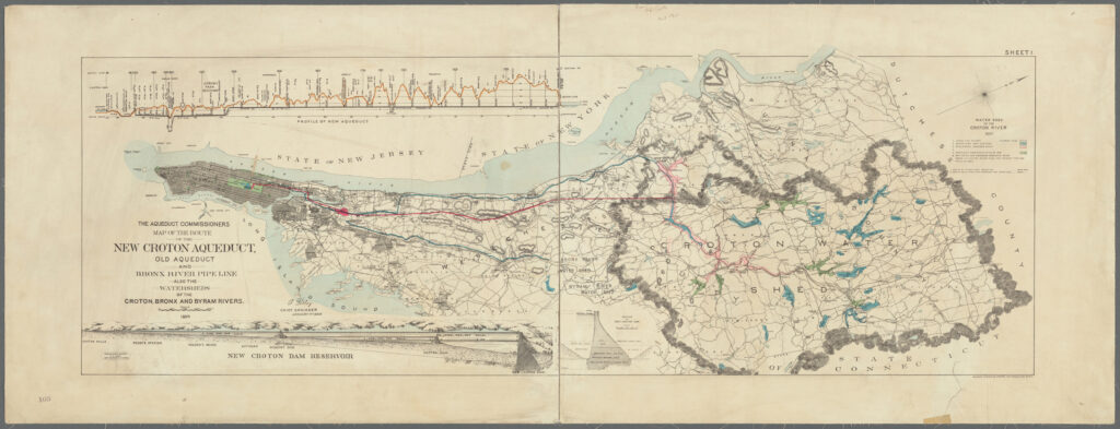 A horizontal map of New York City (Manhattan and the Bronx) and Westchester showing the Croton Watershed. There is an outline around the watershed area and bodies of water colored blue and pink (for future construction). There are three colored lines denoting aqueducts running from Westchester to Manhattan, the old Croton aqueduct, the new aqueduct, and the Bronx River pipeline.