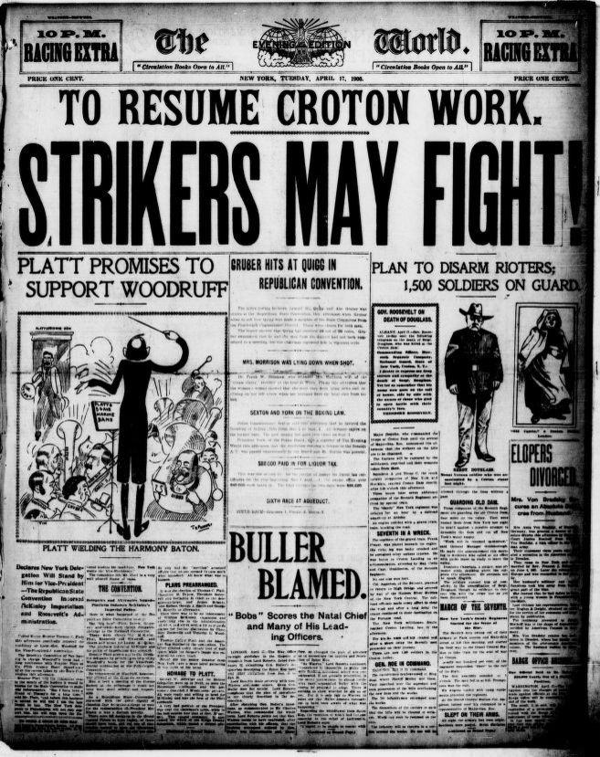 """The front page of a black and white newspaper """"The World"""". The headline is written in large letters across the top with the related article on the bottom right showing an illustration of a white man in a trooper's uniform (the assasinated guardsman). An unrelated article features an illustration of a conductor leading an orchestra of men playing instruments."""