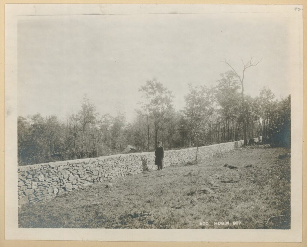 A black and white photo of a man standing near a rock wall. There is grass in the foreground and large trees in the background behind the wall.