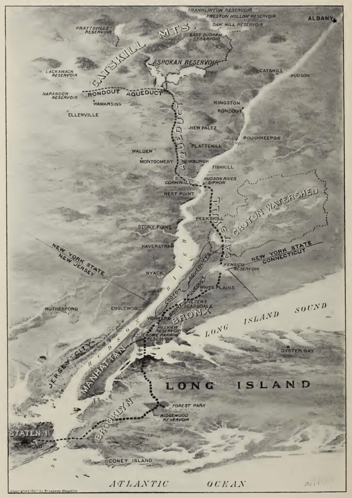A black and white hand drawn map showing Manhattan Island and surrounding land (NJ, Long Island, Catskill Mountains). The land is illustrated to be topographic. Several aqueduct are noted with dotted lines, including the Rondout, Catskill (the longest running from the Catskill Mountains to the Croton Watershed). Ashokan Reservoir is nestled in the Catskill Mountains at the top of the image. The outline of the Croton Watershed is in the mid-lower right part of the map, noted with a dotted line.