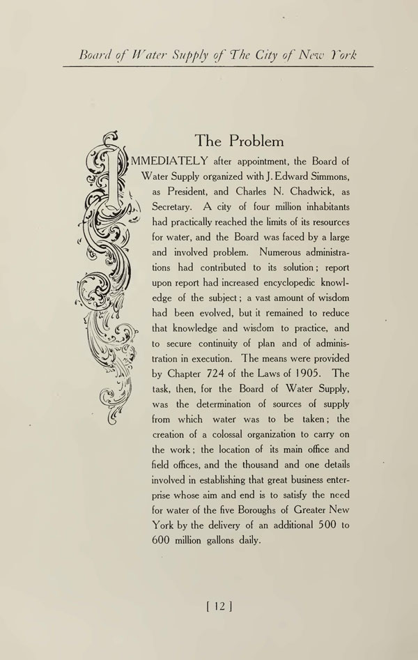 """A page of text from an old book. There is a decorative drawing flanking the text on the left. The words """"The Problem"""" are heading the body text. The rest is unreadable but noted in the adjacent text box."""