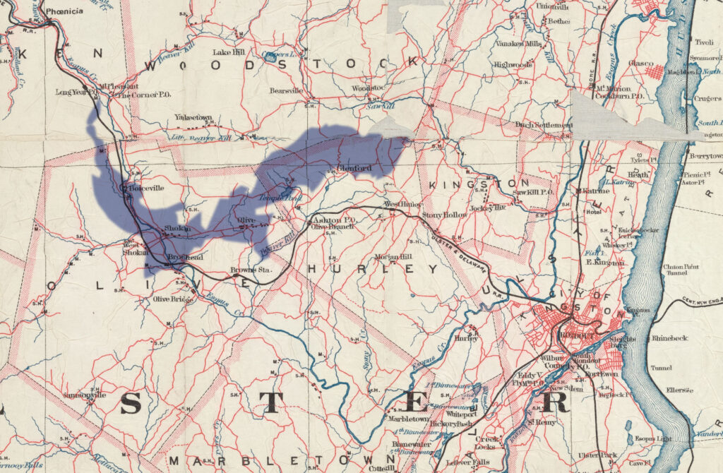 A color map of Ulster County that has been cropped to show detail. The Hudson River is on the right. A purple-shaded shape shows the span of the Ashokan Reservoir and the towns/land that it covered, including Olive, Shokan, Boiceville, Glenford,Temple Pond, and more.