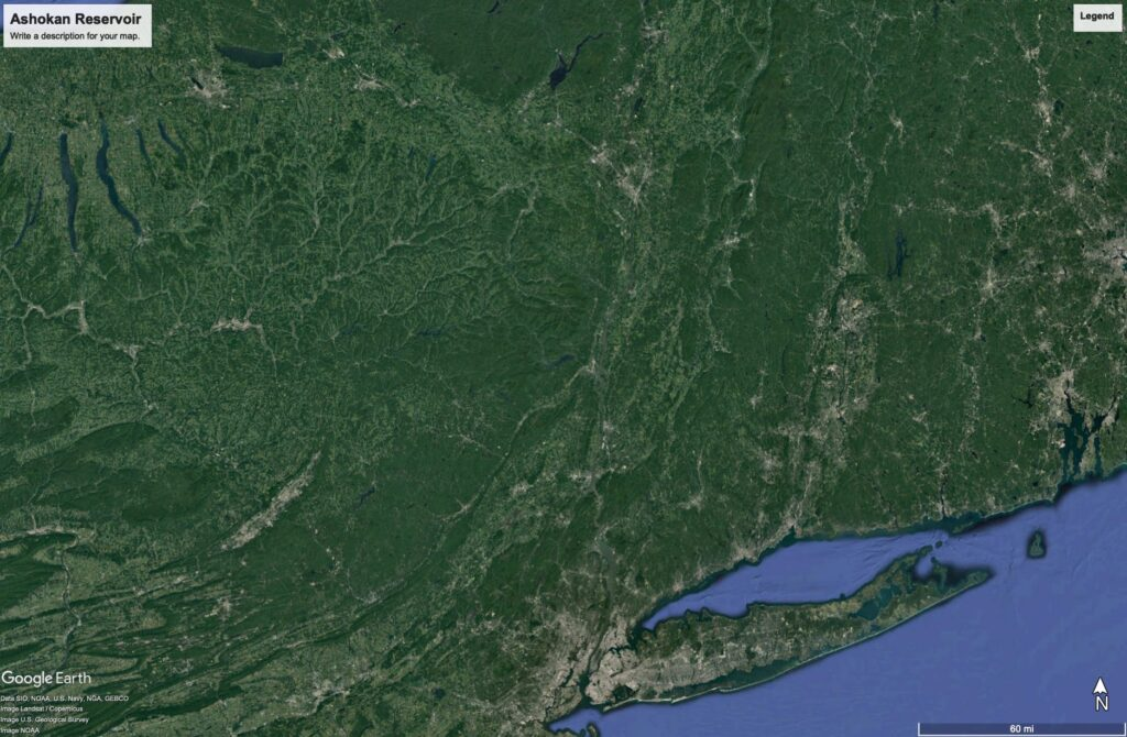 A satellite image of New York State zoomed out so you can see almost all of Long Island, and most of New York State.