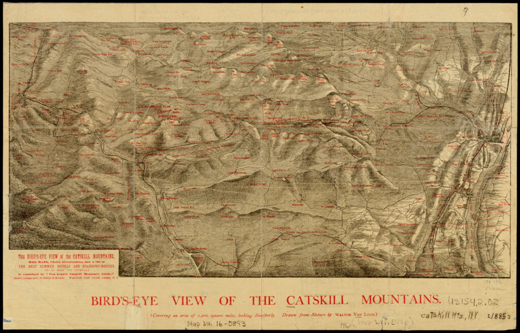 A yellowed map drawn in black with red text noting towns and mountain ranges. It is a topographic map showing the ridges and valleys of the Catskill Mountains with the Hudson River on right.