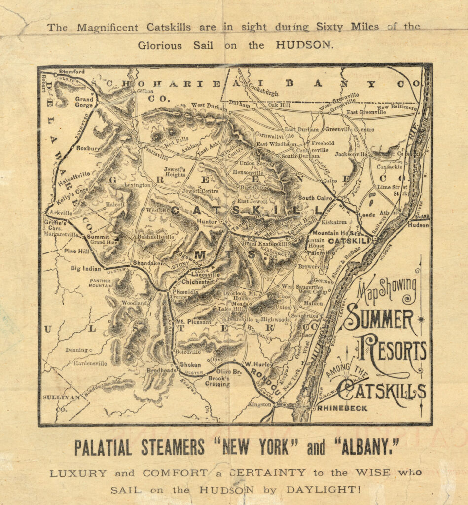 "A black and white topographical map of the Catskill Mountains. Fancy text on the side says ""Map Showing Summer Resorts Among the Catskills"""