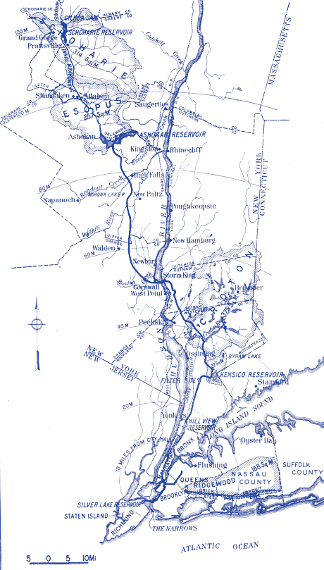 A blue tinted line drawing map featuring the Catskill watershed and reservoirs at the top (North), the Hudson River in the middle, and NYC at the bottom. The Catskill Aqueduct is shown as a dark line connecting the Watershed with the City, crossing over halfway through.