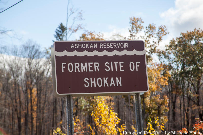 "A color photo of a contemporary metal sign that reads ""Ashokan Reservoir, Former Site of Shokan"". The sign is brown with white lettering and a decorative line in the shape of water ripples across the top."