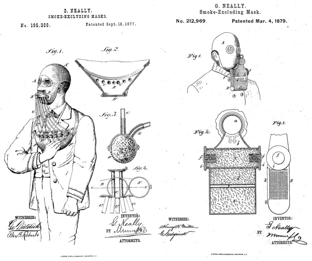 A black and white drawing of designs for masks. Two are featured here. On the left a man wears a headpiece that covers his head like a ski mask. A mouth piece has a row of tubes flowing out of it attached to a chest piece. On the right is a similar mask but the mouth piece looks like a handheld radio.