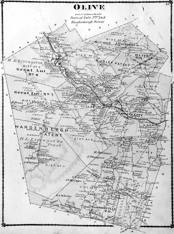 "A black and white map of Olive. The majority of text is unreadable except for a section labeled ""Hardenberg Patent"" and ""Lot 8"". The Esopus Creek is a dark line that cuts through the map from left to right."