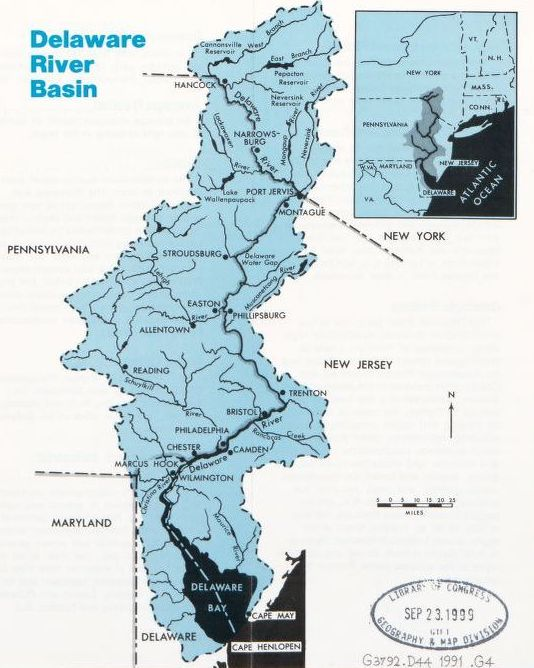 A map of the Delaware River Basin showing the outline of the basin itself, and then a cutaway of the location of the basin in the Northeast United States. A Library of Congress stamp is stamped with the date 1999.