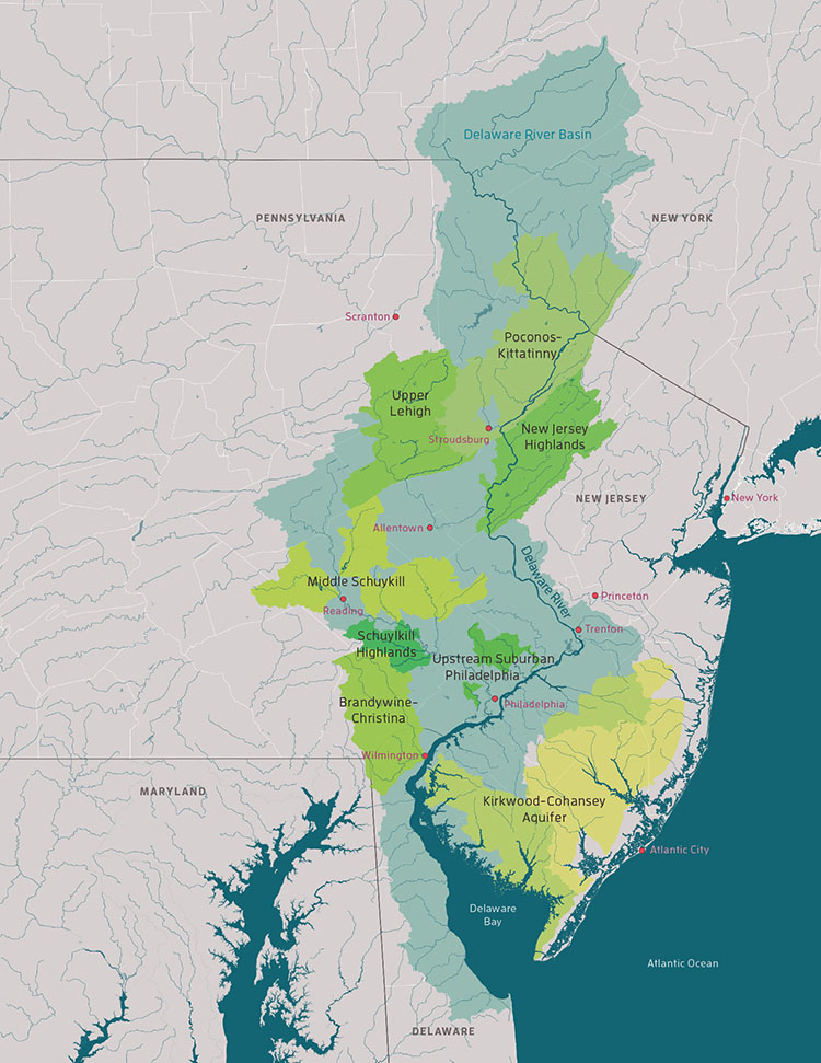 A computer generated map of the Delaware River Basin in the context of the larger map of the NJ, PA, Delaware, NY areas.