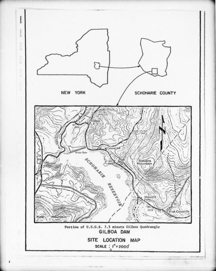 A scan of a black and white document showing a simple map of New York state, locating Schoharie County, with the outline of the county enlarged beside NY state. Below is topographic map of Schoharie Reservoir.