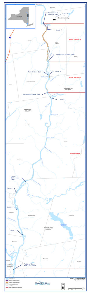 A map of the Hudson River. A small map of the whole state in the top corner shows this is just a small section of an upper quadrant of the whole river. The map shows dredging areas that are in Phase 1 and 2. There is a large swath of work being done in the upper part of the river.