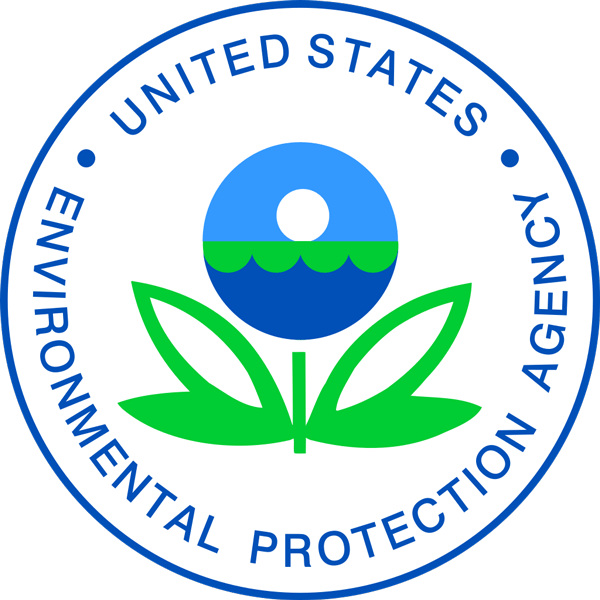 """The logo of the EPA featuring a blue circle surrounding a symbol that resembles a flower with green leaves and a stem. The """"flower"""" is a circle with what looks like a sun over a horizon and water."""