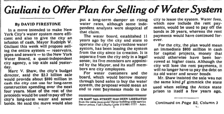 """A black and white newspaper clipping with the headline """"Guiliani to Offer Plan for Selling of Water System"""""""