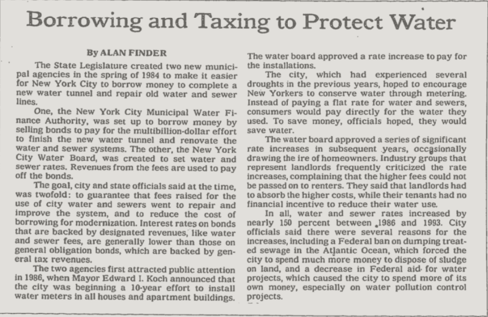 """A black and white newspaper clipping with the headline """"Borrowing and Taxing to Protect Water"""""""