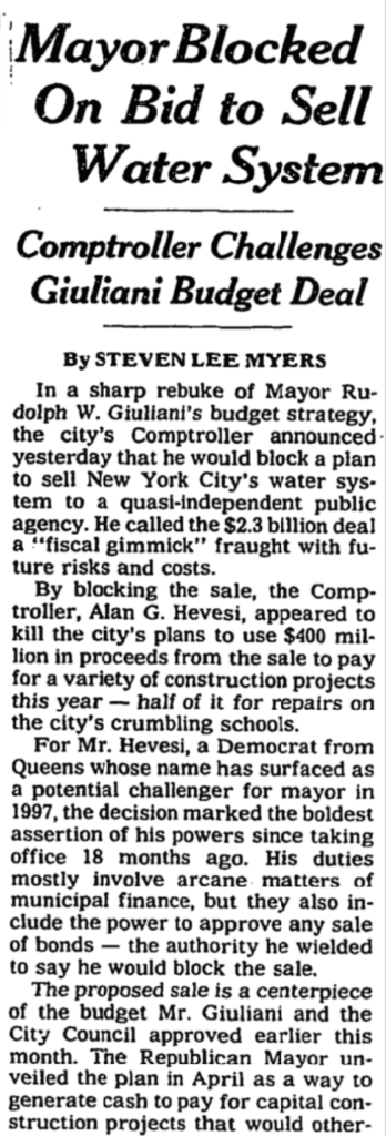 """A black and white newspaper clipping with the title """"Mayor Blocked on Bid to Sell Water System"""""""
