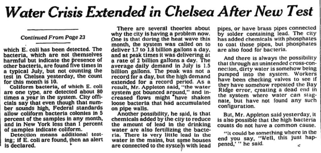 """A black and white newspaper clipping. The headline reads """"Water Crisis Extended in Chelsea After New Test"""""""